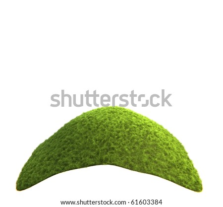 Hill covered with grass isolated on white - stock photo