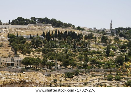 Hill near to a western wall in the city of Jerusalem