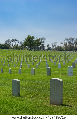 Hill of Military Cemetery full of graves in Los Angeles in southern California. - stock photo