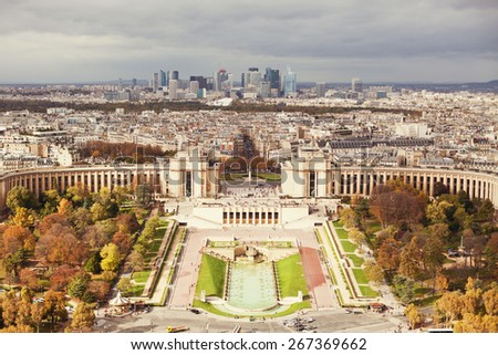 Hill of Trocadero and Palais de Chaillot, Paris, France - stock photo