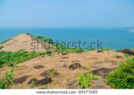Hill on an ocean coast - stock photo