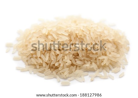 hill rice isolated on white, selective focus - stock photo