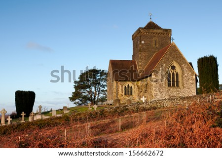 Hill top church St Martha's on the Hill on the North Downs just outside Guildford, Surrey. - stock photo