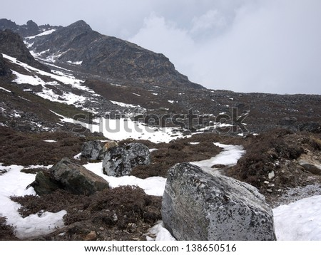 Hill top of Yumesamdong (Zero Point) in Lachung, North Sikkim. It is at an astounding altitude of more than 5,000 meters above sea level, and snow covered mountains on all sides. - stock photo