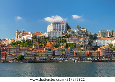 hill with old historical  town of Porto at sunny day, Portugal - stock photo