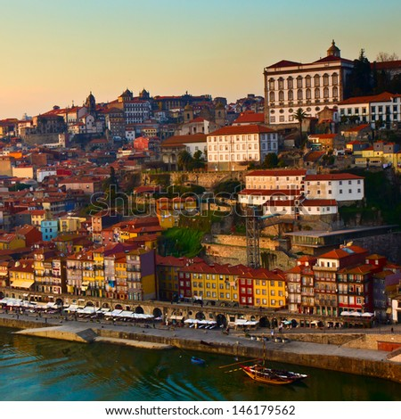 hill with old town of  Porto at sunset, Portugal - stock photo