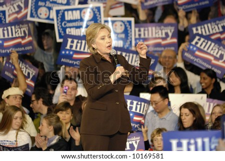 Hillary Clinton Rally for Presidential Campaign - stock photo