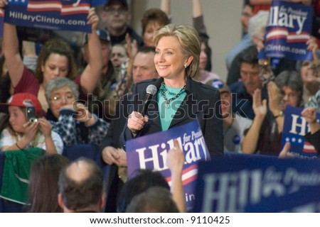 Hillary Clinton speaking at a presidential campaign Rally townhall meeting style, February 2, 2008. - stock photo