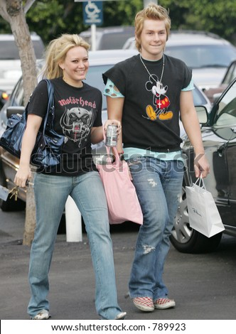 Hillary duff shopping at Fred Segal, with friend - stock photo