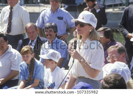 Hillary Rodham Clinton addresses workers at an electric station on the 1992 Buscapade campaign tour in Waco, Texas - stock photo