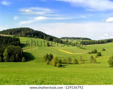 Hills of Muehlviertel, part of Upper Austria - stock photo