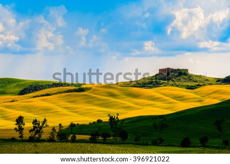 Hills with light and shadow in tuscany countryside