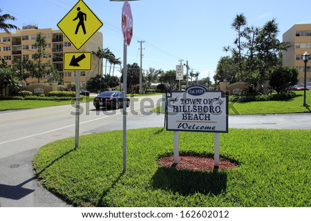 HILLSBORO BEACH, FLORIDA - FEBRUARY 1: Entrance sign into the town south of Deerfield Beach called Hillsboro Beach, population of 1,875 people in 2010 on February 1, 2013 in Hillsboro Beach, Florida.