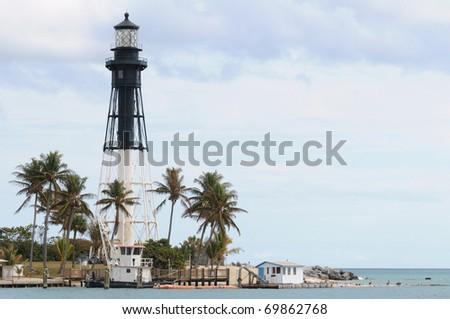 Hillsboro Lighthouse in Pompano Beach, Florida - stock photo