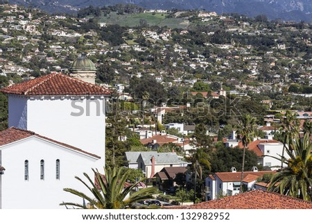 Hillside community in scenic Santa Barbara, California. - stock photo