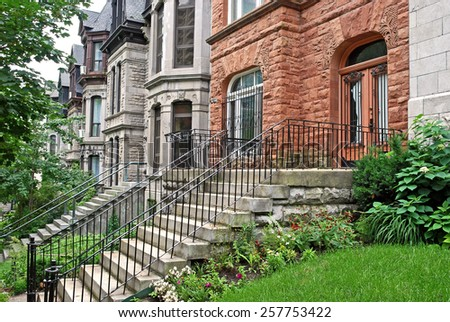 hillside houses with steps - stock photo