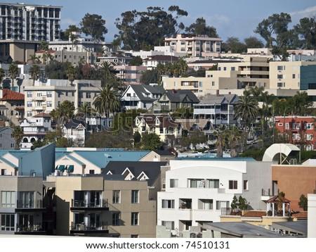 Hillside neighborhood of homes near downtown San Diego in sunny SOuthern California. - stock photo