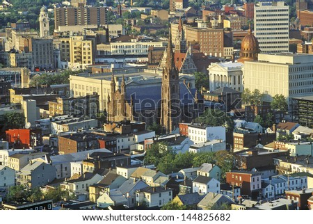 Hilltop view of Patterson NJ - stock photo