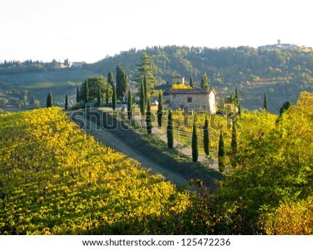 Hilltop Villa in Tuscany, Italy - stock photo