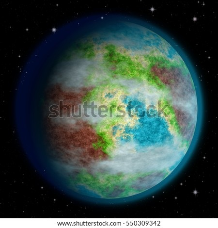 Hilly green planet texture, Earth-like. 3d