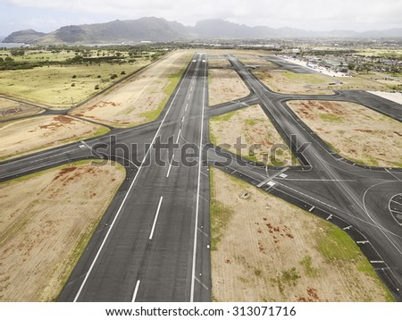 Hilo International Airport Runway, Hawaii - stock photo