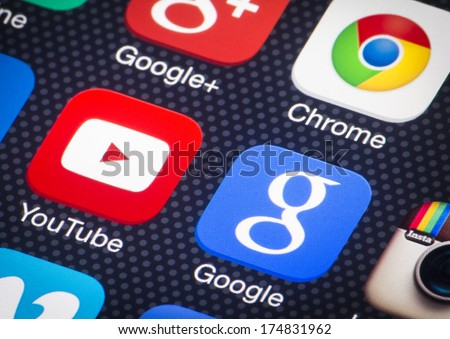 HILVERSUM, NETHERLANDS - FEBRUARY 03, 2014: Google is an American multinational corporation specializing in Internet-related services and products. Most of its profits are derived from AdWords. - stock photo