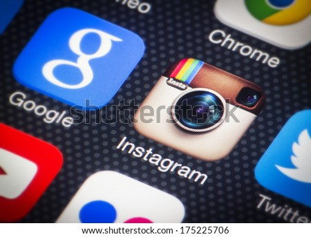 HILVERSUM, NETHERLANDS - FEBRUARY 06, 2014: Instagram is an online photo/video-sharing and social networking service used to take photos and videos and share them through social media. - stock photo