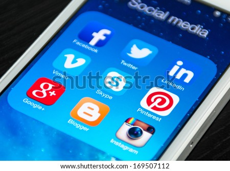HILVERSUM, NETHERLANDS - JANUARY 03, 2014: Social media are trending and both business as consumer are using it for information sharing and networking. - stock photo