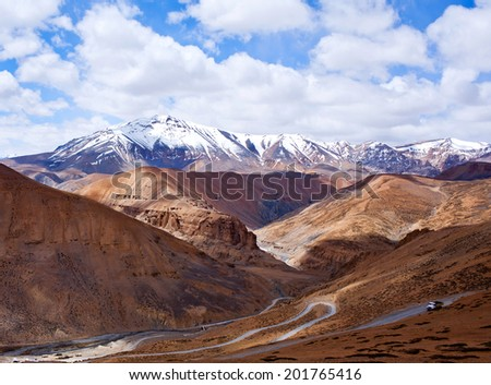 Himalaya mountain landscape at the Manali - Leh highway in Ladakh, Jammu and Kashmir State, North India. - stock photo