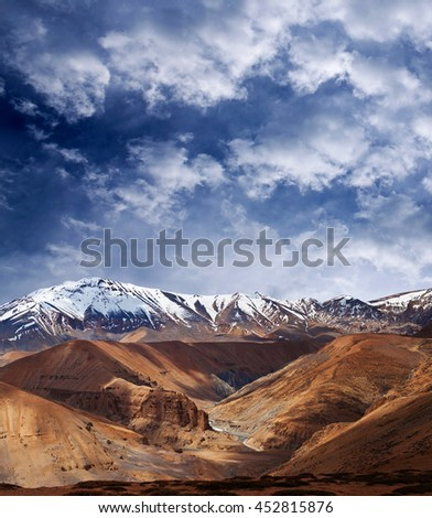 Himalaya mountain landscape in Ladakh, Jammu and Kashmir State, North India
