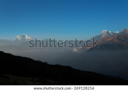 Himalaya Mountains View from Poon Hill 3210m at sunset