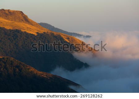 Himalaya Mountains View from Poon Hill 3210m at sunset - stock photo
