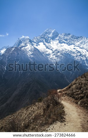 Himalaya range view from Dole-Machhermo rote, Sagarmatha National Park, Nepal - stock photo