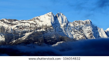 Himalayan mountain landscape, Nepal - stock photo