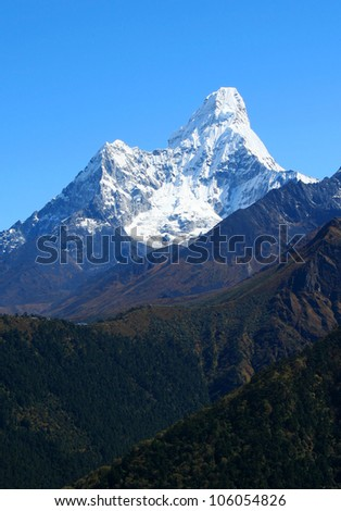 Himalayan mountain landscape, Nepal, Everest Region, Mt. Ama Dablam - stock photo