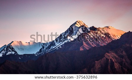 Himalayan mountain range during sunrise