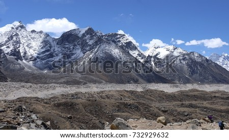 Himalayan mountain view on route to Everest Base Camp, Nepal. The Himalayas range has many of the highest peaks on Earth, including the highest Everest Mount Everest.
