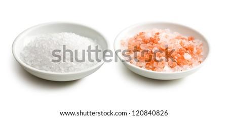himalayan pink salt in ceramic bowl - stock photo