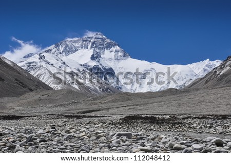 Himalayas, Mount Everest, the highest peak in the world, in Tibet, Asia - stock photo