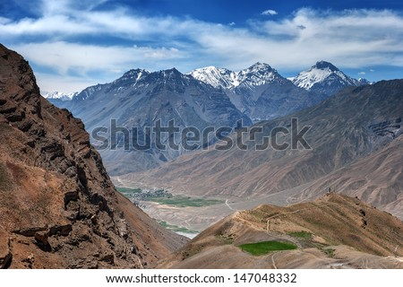 himalayas mountain and river in summer time - stock photo