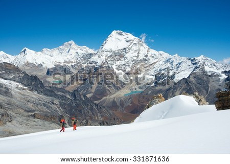 Himalayas mountain range from Mera Peak High Camp - stock photo