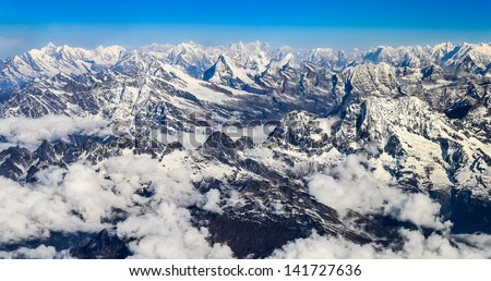 Himalayas mountains Everest range panorama aerial view, Nepal - stock photo