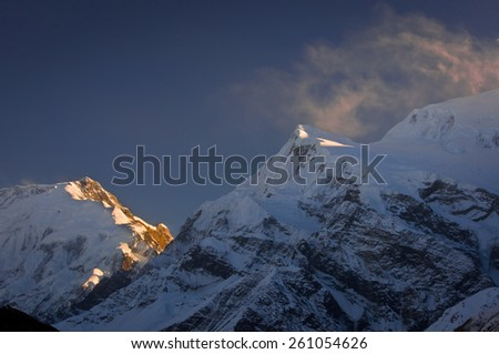 Himalayas mountains.View on Annapurna massif