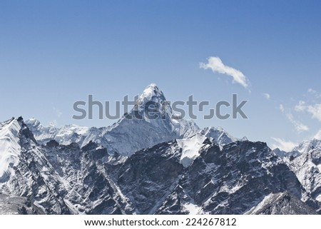 Himalayas, Nepal, Ama Dablam, Pheriche, Khumbu Valley, trekking to Everest - stock photo
