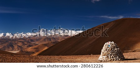 Himalayas panorama with Cho Oyu mount, view from Tibet  - stock photo