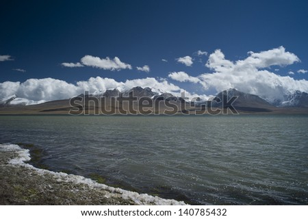 himalayas snow mountains and lake in autumn