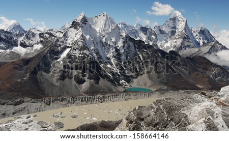 Himalayas  View from a height of six thousand meters of the Mount Ama Dablam.