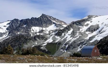 Himmelsbach Hut in Garibaldi Provincial Park, British Columbia, Canada - stock photo