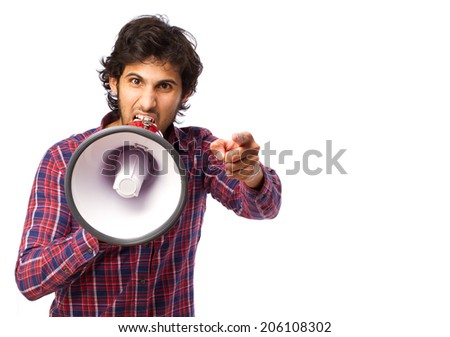 Hindu cool young man with a megaphone - stock photo