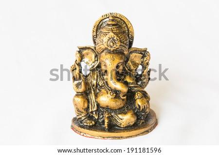 Hindu God Ganesh Statue  on white - stock photo